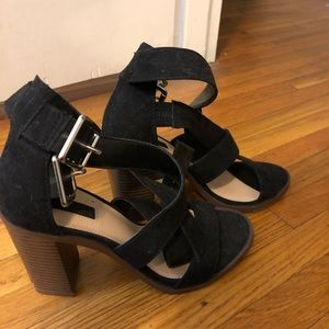 Suede Black Heeled Sandal